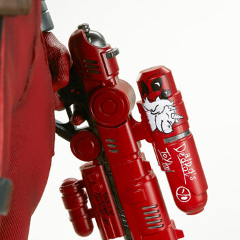 close up on inside of left water gun on Deadpool Third Scale Statue