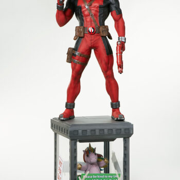 full front view of Deadpool Third Scale Statue with guns