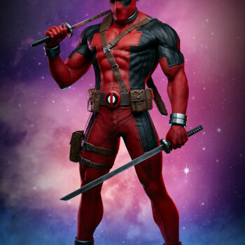 front view Deadpool Third Scale Statue with blue and pink smoke in background