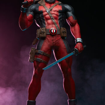 full body view of Deadpool Third Scale Statue with pink smoke in background