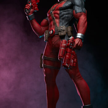 left side looking up on Deadpool Third Scale Statue with pink smoke in background