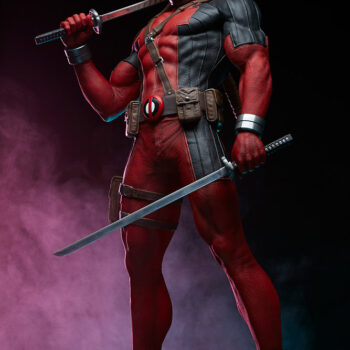 looking up at Deadpool Third Scale Statue with swords with pink smoke background
