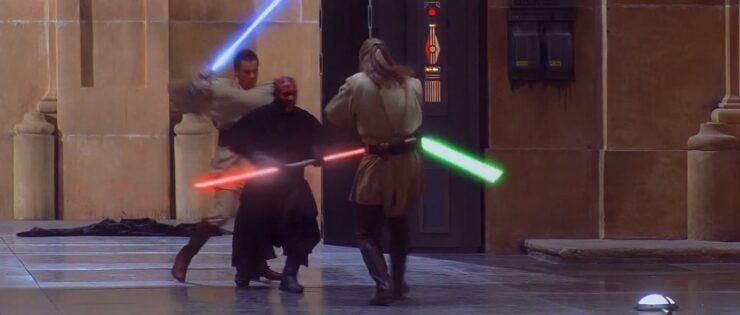 Duel of the Fates with Qui-Gon Jinn, Obi-Wan Kenobi, and Darth Maul