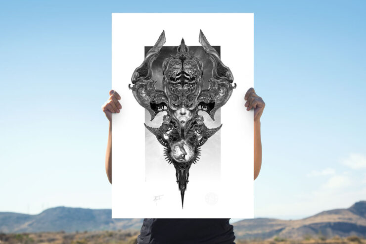 Galactus and the Silver Surfer Fine Art Print by NEKRO XIII Unframed