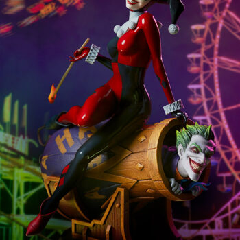 Full view of Harley Quinn and The Joker Diorama with a Carnival in the background