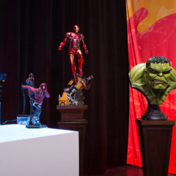 Black Widow and Miles Morales by Hot Toys, Iron Man by PCS, Hulk Bust and Silver Surfer Maquette by Sideshow