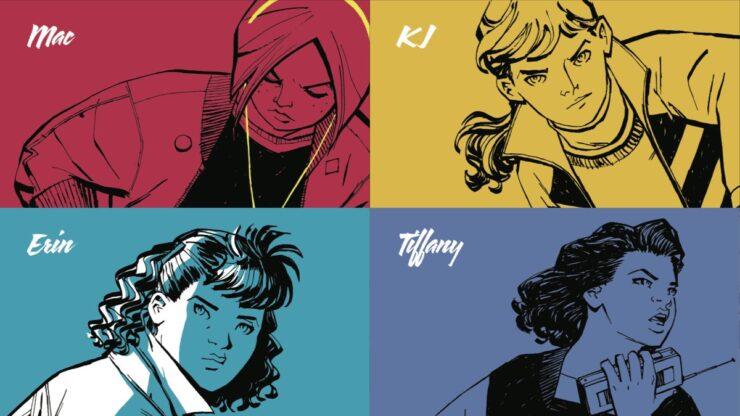 Paper Girls comic book characters in monotone rendering