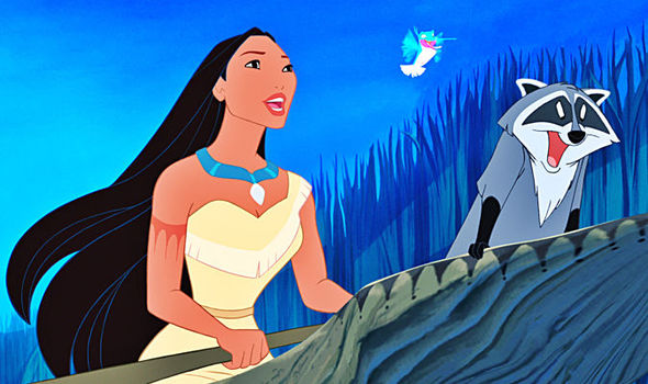 Pocahontas and animal friends in the Disney film