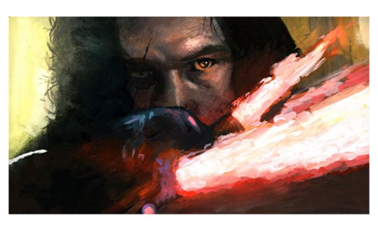 Kylo Ren with red lightsaber