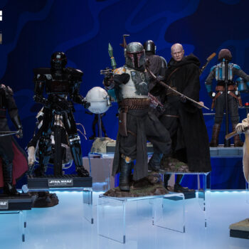 Star Wars The Mandalorian Display with The Mandalorian, Boba Fett, Moff Gideon, Tusken Raider, and Dark Trooper Sixth Scale Figures with greater contrast in lighting