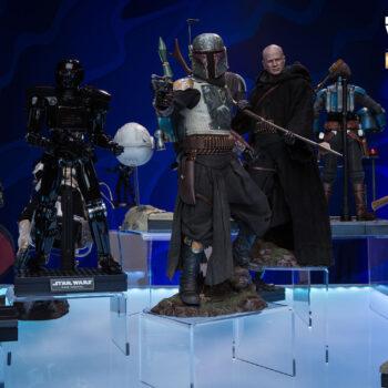 Star Wars The Mandalorian Display with The Mandalorian, Boba Fett, Moff Gideon, Tusken Raider, and Dark Trooper Sixth Scale Figures close up