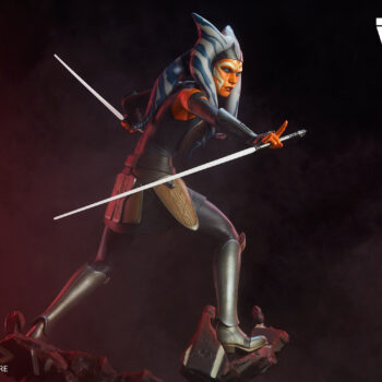 Full side view of the Ahsoka Tano Premium Format Figure with Cosmic Background