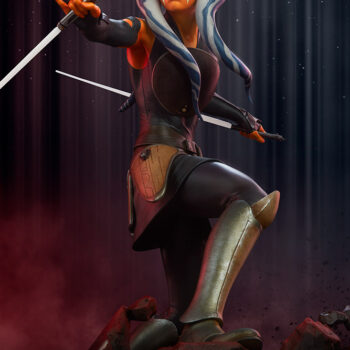 Looking up at the Ahsoka Tano Premium Format Figure with a space-like background