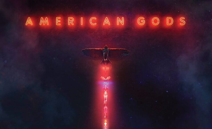 The opening for the STARZ series which features a neon sign reading American Gods and a totem made of religious relics and technology