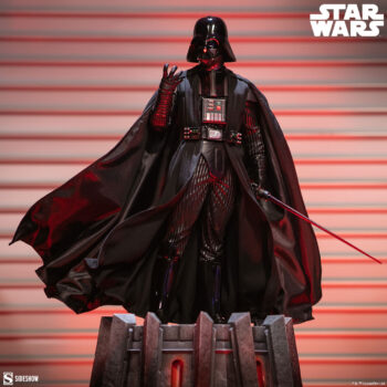 Front View of the Darth Vader Premium Format Figure with red lights behind