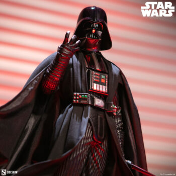 Darth Vader Premium Format Figure Close Up with red lights behind