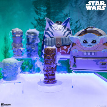 The Child (Force Pose) and Chewbacca Geeki Tikis with Loungefly and Bioworld Backpacks