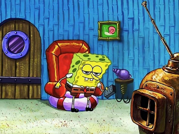 SpongeBob sitting down
