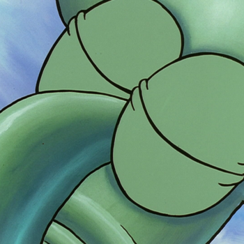 Sleeping Squidward with his eyes closed