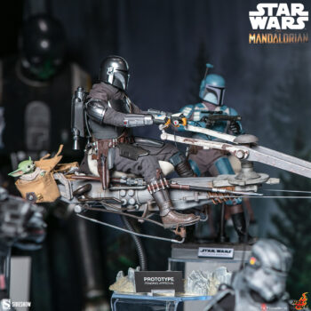 The Mandalorian and Swoop Bike Sixth Scale Figure Close Up