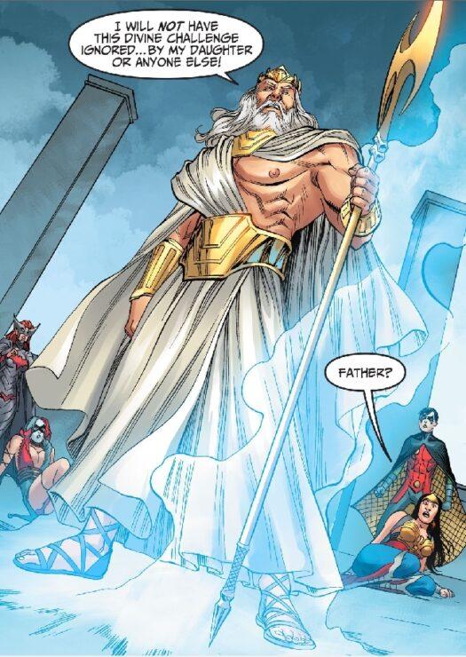 Zeus DC Comics, protecting his daughter Wonder Woman