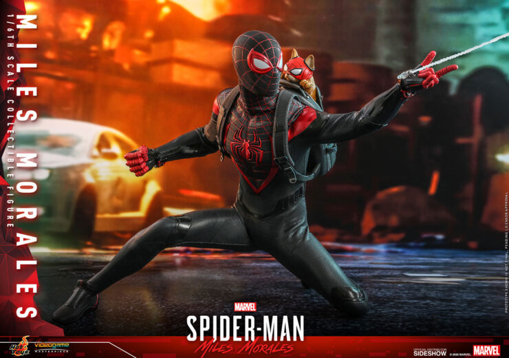 spider man miles morales sixth scale figure with spider-cat by hot toys