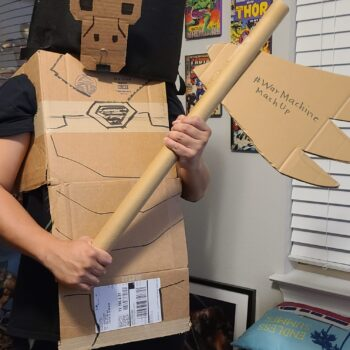 Let Your Geek Sideshow Facebook Group member Brian Caldona's War Machine/King Kong cobbled cosplay mashup costume