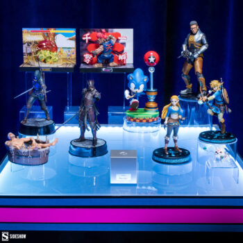 Video Game Display with Blanka and Akuma PVC Figures, Link and Zelda Statues, Sonic, Poke Ball, Gordon Freeman, King Eredin, and Geralt Statues