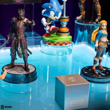 King Eredin Statue, Zelda Statue, Sonic the Hedgehog Statue, and PokeBall Replica