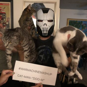 Let Your Geek Sideshow Facebook Group member Daye Smith's War Machine/Cat-Man cobbled cosplay costume for the group contest