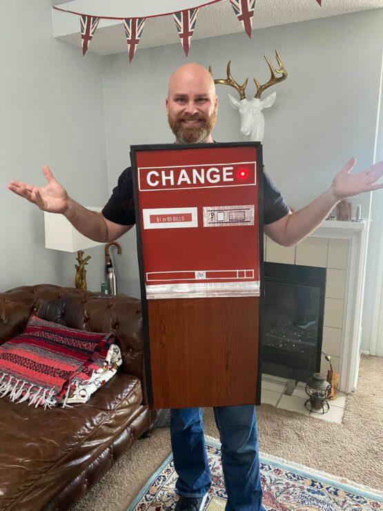 Guy James Klender dressed as a change machine