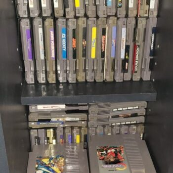 Let Your Geek Sideshow Facebook Group admin Rob Koecher's game cartridge collection