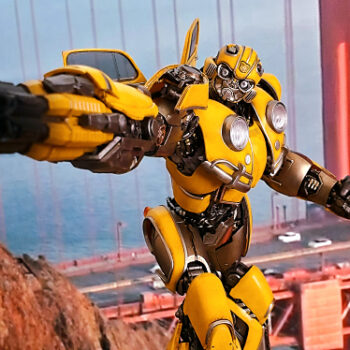 Bumblebee collectible in front of golden gate background