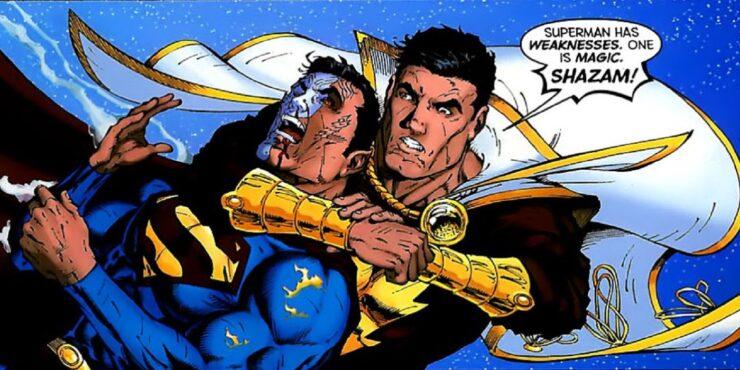 Superman and Black Adam Fighting