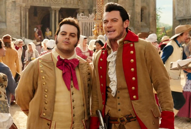 Josh Gad and Luke Evans as LeFou and Gaston, Beauty and the Beast 2017