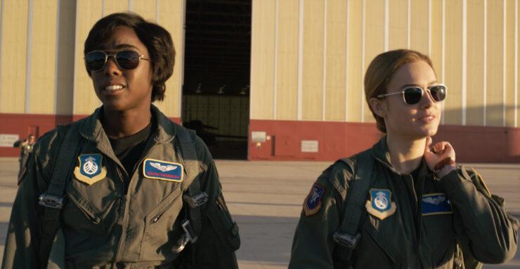 Brie Larson as Carol Danvers/Captain Marvel and Lashana Lynch as Maria Rambeau in Marvel Studios Captain Marvel