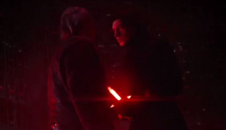Adam Driver as Kylo Ren and Harrison Ford as Han Solo in Star Wars The Force Awakens