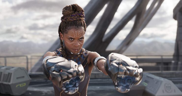 Shuri (Letitia Wright) with Panther Gauntlets