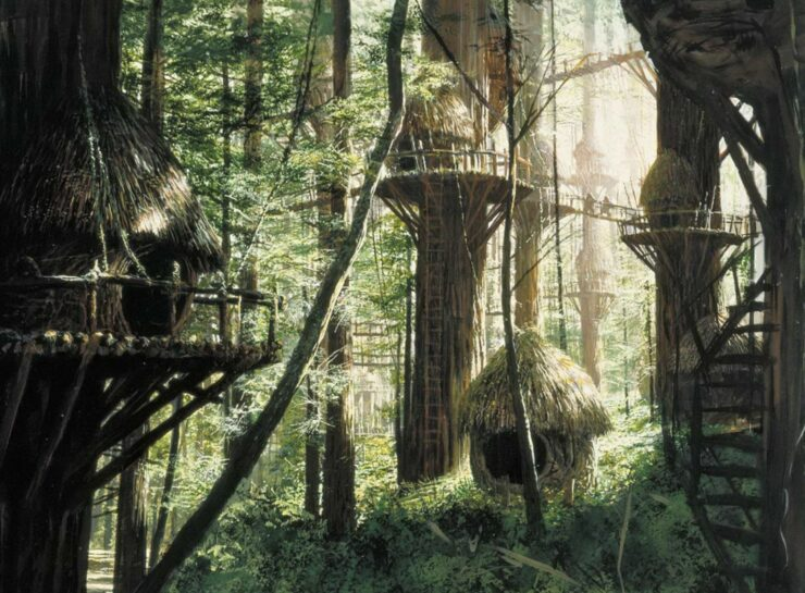 Bright Tree Village on the moon of Endor is a treetop sanctuary built by Ewoks