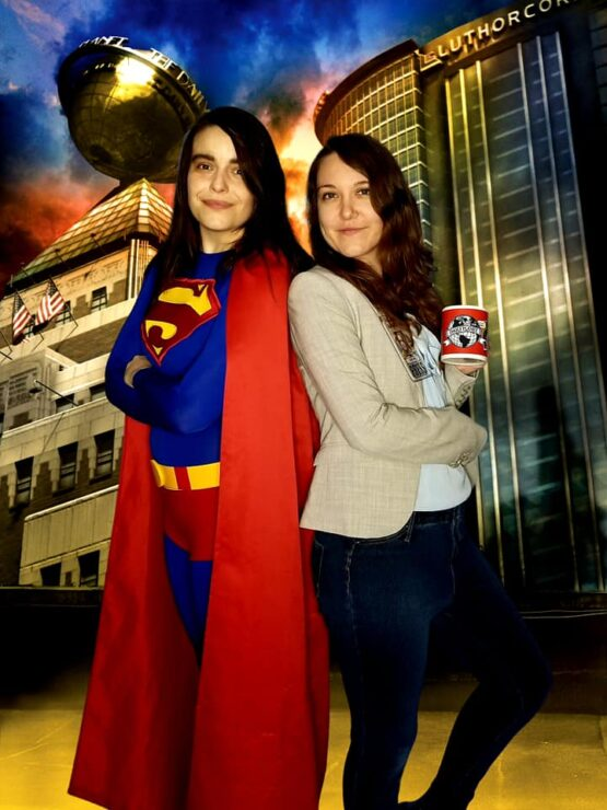 Let Your Geek Sideshow Facebook Group members Jessi and Lisa Dawn C. dressed as Superman and Lois Lane