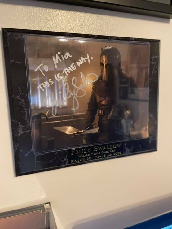 Let Your Geek Sideshow Facebook Group member Mia M. shared her Emily Swallow autographed image of The Armorer from STAR WARS The Mandalorian