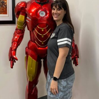 Missy with a Life Size Iron Man Statue