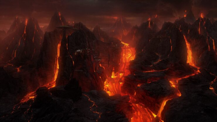 Mustafar is a volcanic planet covered in lava rivers and imposing mountains
