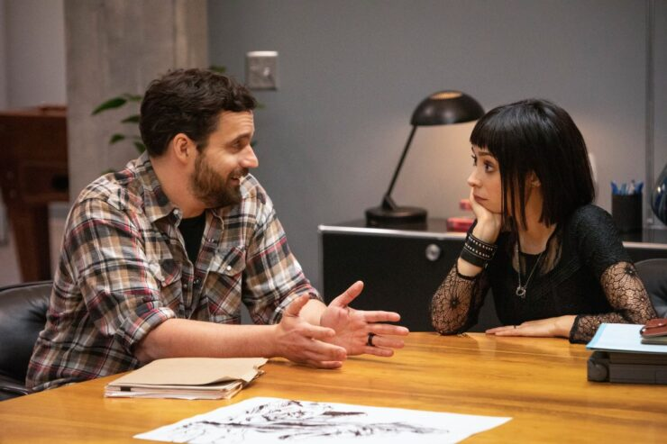 Still of Jake Johnson and Cristin Milioti in Mythic Quest.