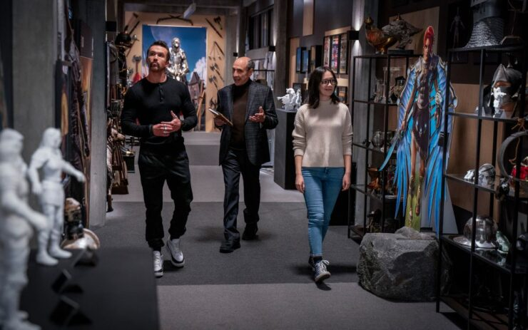 Still of Rob McElhenney, F. Murray Abraham and Charlotte Nicdao in Mythic Quest.