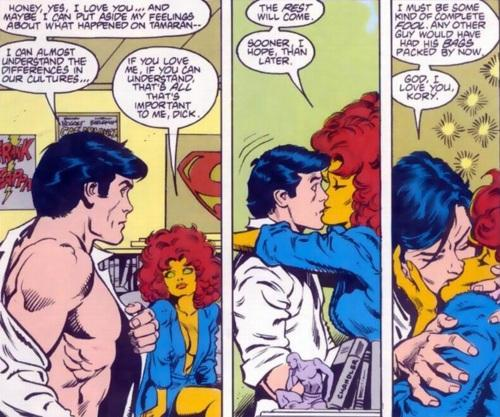 Gotham vigilante Nightwing and alien princess Starfire have had an incendiary romance over the years