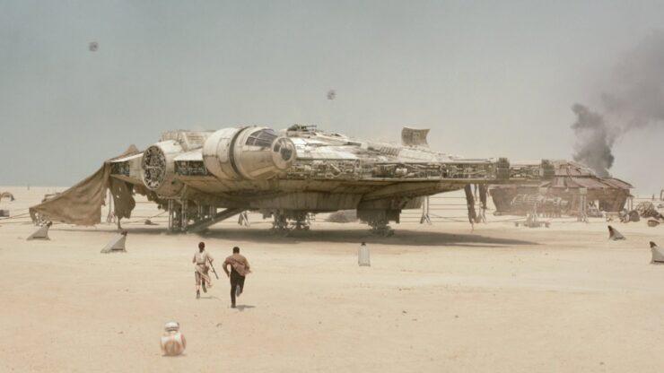 Daisy Ridley as Rey and John Boyega as Finn in Disney Lucasfilm Star Wars The Force Awakens