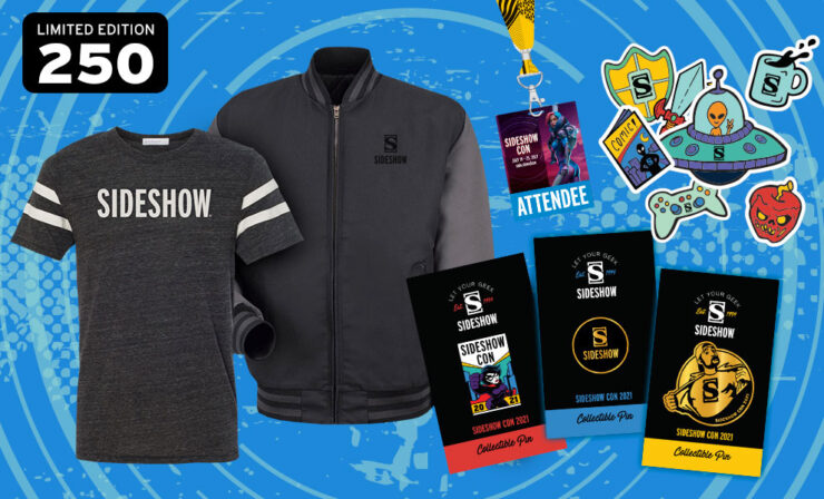 Sideshow Con 2021 Deluxe Souvenir Swag Kit featuring a Jacket - EXCLUSIVE TO THIS KIT ONLY, T-Shirt, Sideshow Con pin, Sideshow Pin, Sticker pack, Invite Only card, and Lanyard/Badge