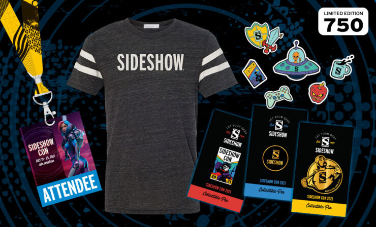 Sideshow Con 2021 Standard Souvenir Swag Kit featuring a T-Shirt, Sideshow Con pin, Sideshow Pin, Sticker pack, Invite Only card, and Lanyard/Badge
