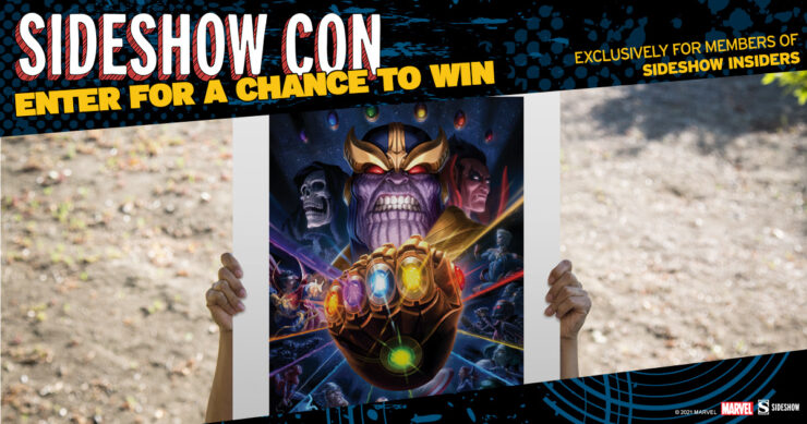 Sideshow Con Giveaway Sideshow Insiders Thanos & Infinity Gauntlet Fine Art Print by Fabian Schlaga